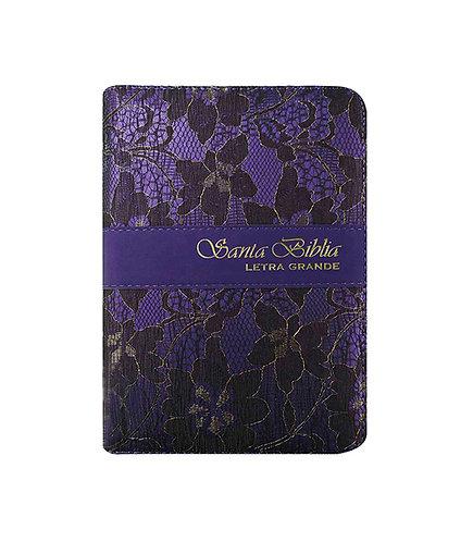 Biblia estuche tela lila, cierre