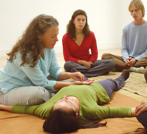 Breema bodywork class for stress reduction and team building
