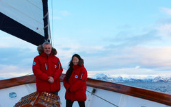 Kenneth & Sachi sailing in the arctic