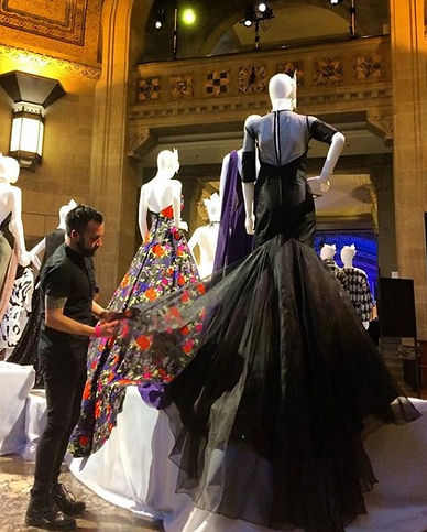 Ryan Alexander with dresses at th ROM Toronto