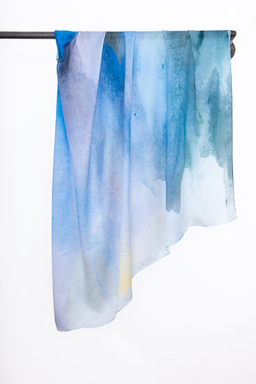 Silk Scarf with Watercolour print #05