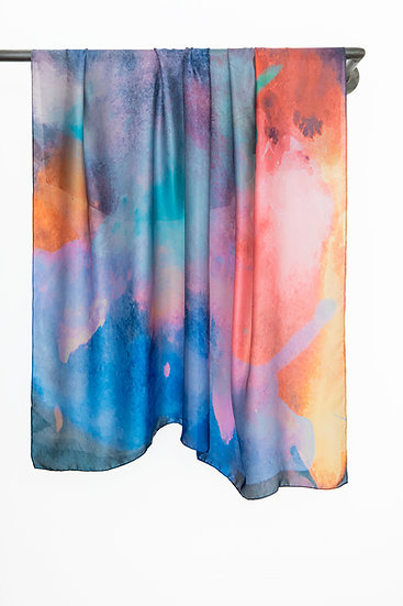Silk Scarf with Watercolour print #04