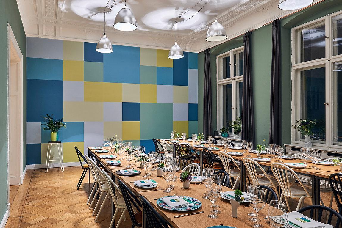 ebay event wallpaper berlin green squares geometric pixel grün Wand Tapete