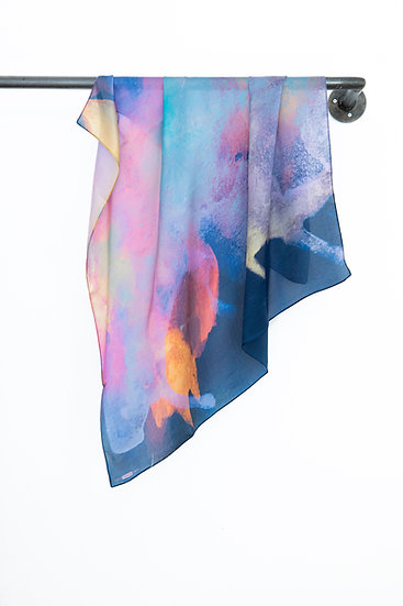 Silk Scarf with Watercolour print #03