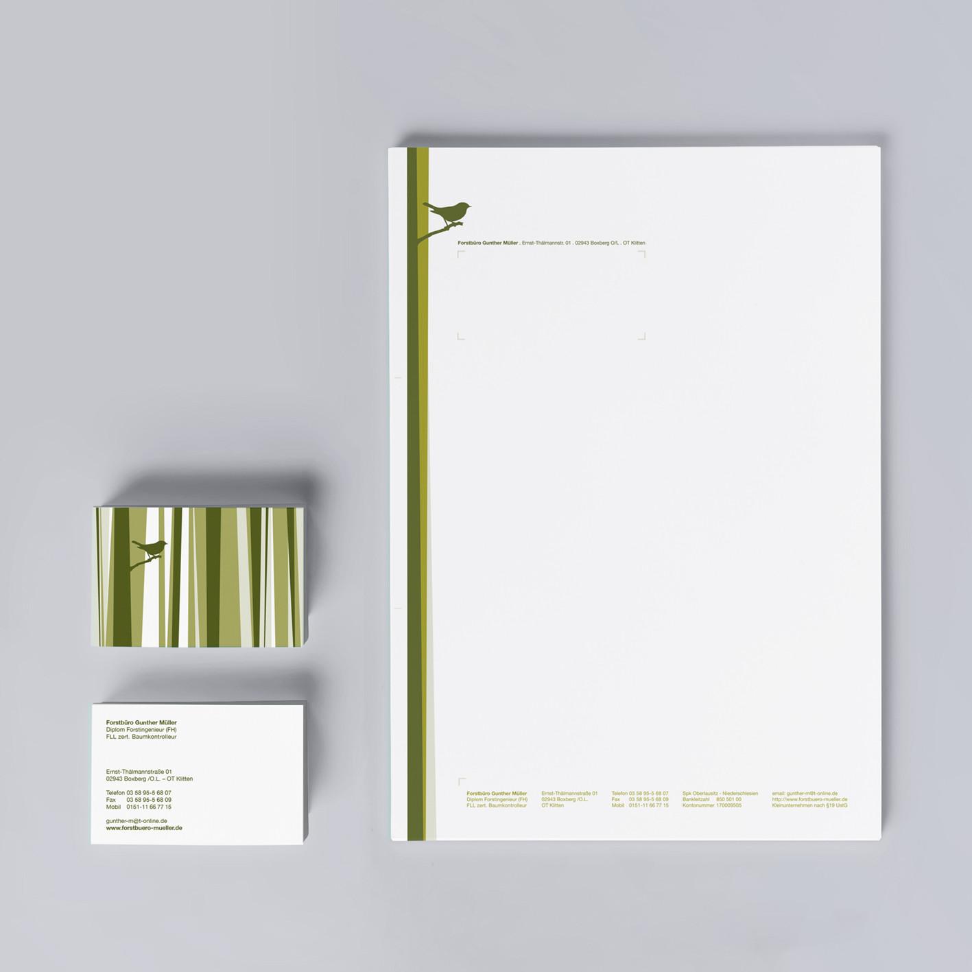 visitenkarte briefpapier business forstbüro vogel wald grün