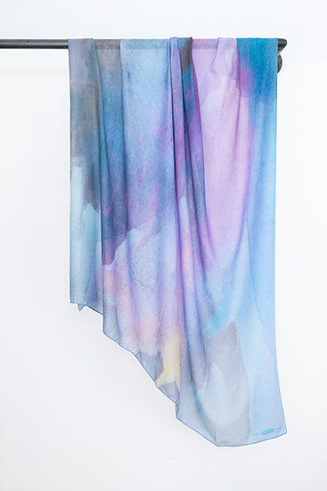 Modal Cashmere Scarf with Watercolour print #01