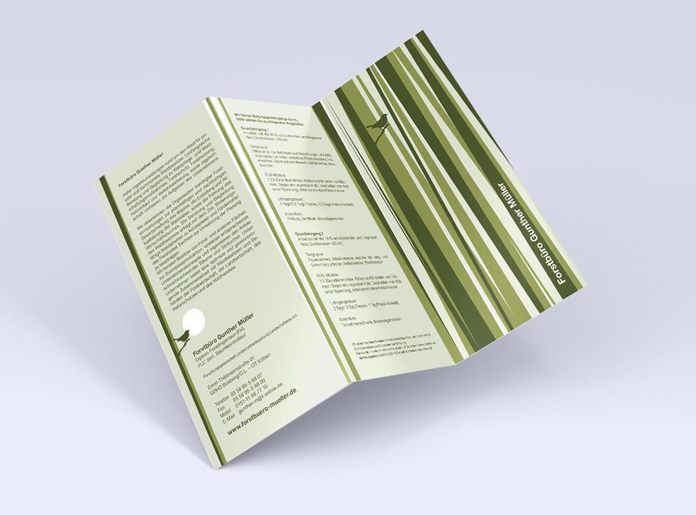 visitenkarte briefpapier business forstbüro vogel wald grün flyer zickzack