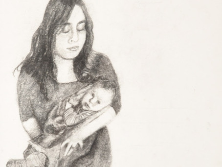 Yocheved and Baby Moses - Charcoal