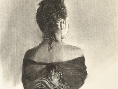 Esther Preparing for Audience with the King - Charcoal
