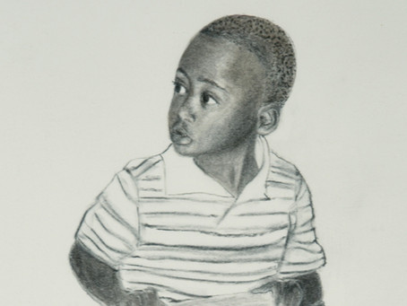 Young Boy Opening Present - Charcoal