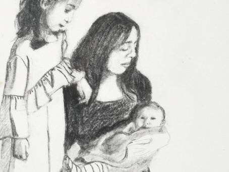 Miriam Comforting Yocheved - Charcoal