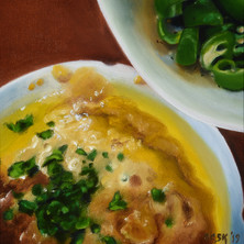 Hummus and Green Peppers