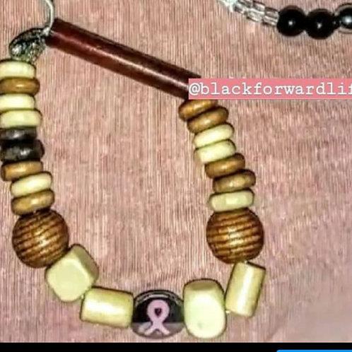 Breast Cancer Awareness Wooden Bracelets
