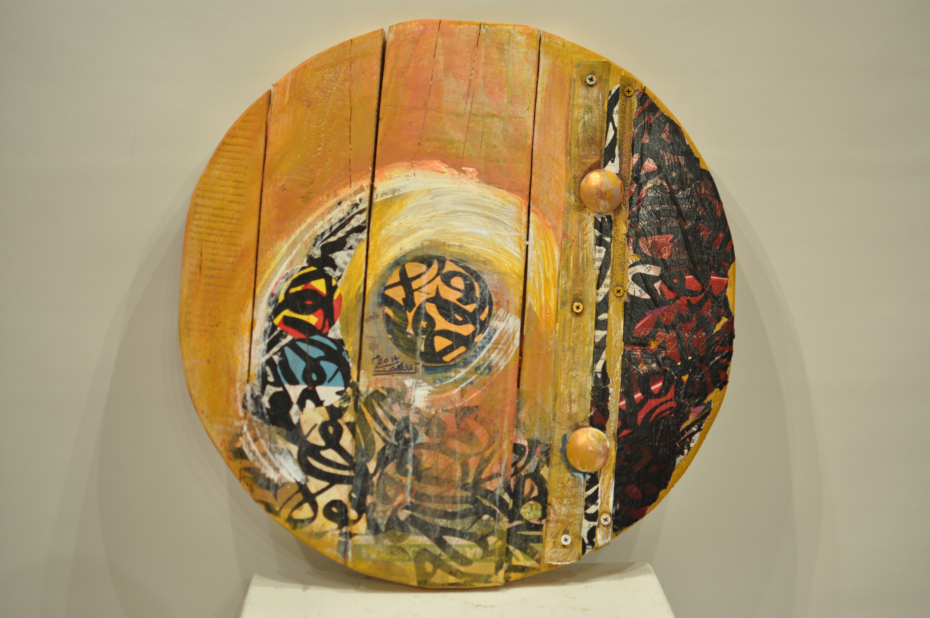 MAHDIA AL TALEB. Circle 4. D = 49 cm. Mixed Media on Wood. 2014 AED 5,000.JPG