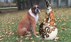 Boxer custom ceramic urn. Brobear