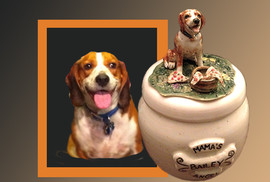 Custom Ceramic Beagle Urn. Bailey
