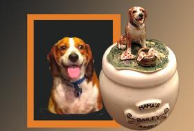 Custom Ceramic Beagle Urn. Bailey