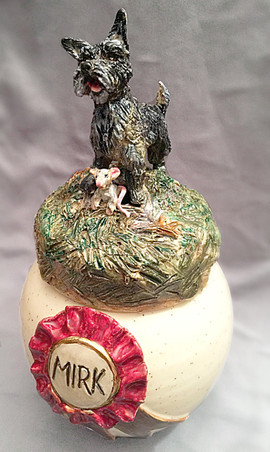 Westie sculpture urn. Mirk