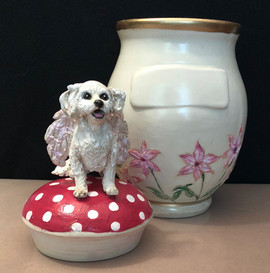 custom ceramic urn - dog with wings