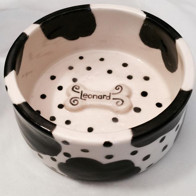 Parti Poodle Custom Dog Bowl for Leonard