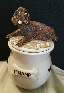 Cockapoo sculpture.urn.Eldoop