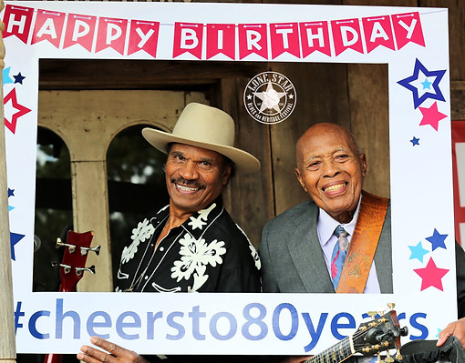 Benny and Milton with the selfie frame - #cheersto80years!