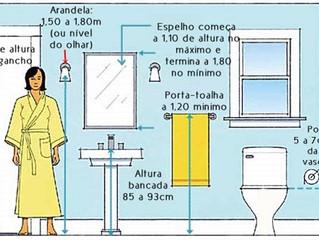 Ideias de distribuição de tamanho no banheiro ou lavabo