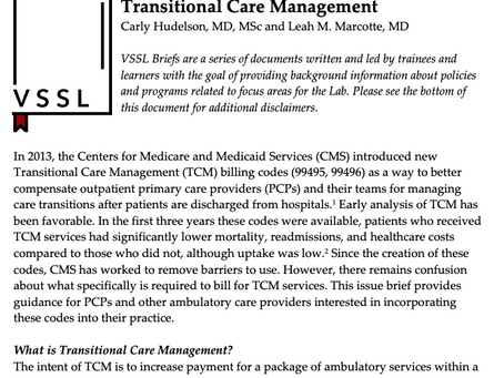 Issue Brief: Transitional Care Management (TCM) Services