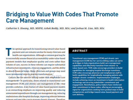 How Organizations Can Use Care Management Codes to Bridge Health Care Volume & Value