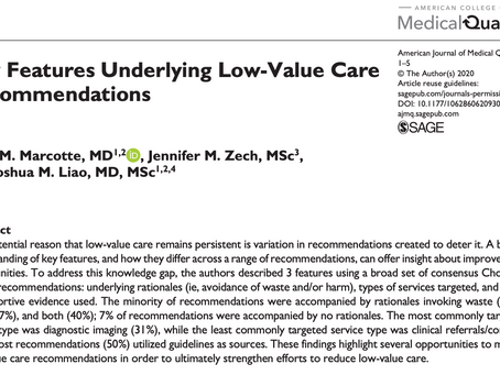 Key Features Underlying Low-Value Care Recommendations
