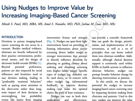 "Can ""Nudges"" be Used to Guide Cancer Screening Decisions?"
