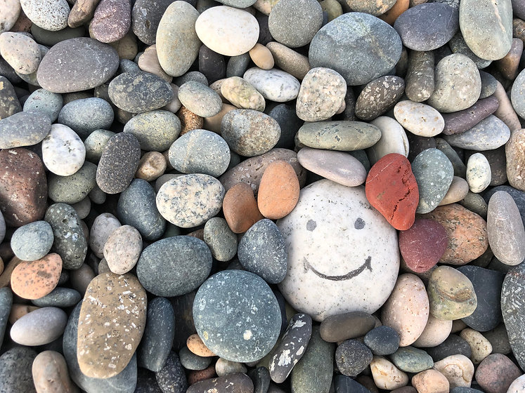 Stone with a painted smile. On the shore