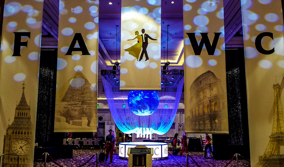 Corporate Event Decor Globe and Banners.