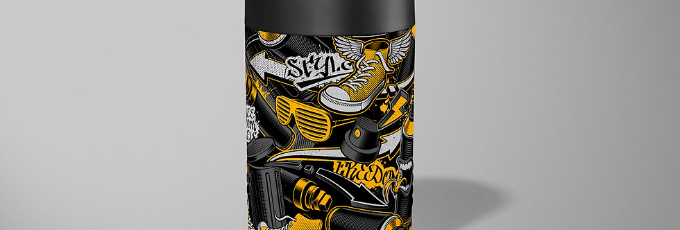 Yellow Graffiti Beer Can Holder