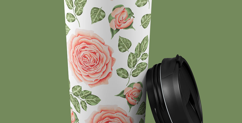 Peach Floral 15oz Stainless Steel Tumbler