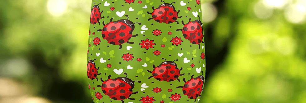 Ladybug Hearts 12oz Stainless Steel Tumbler