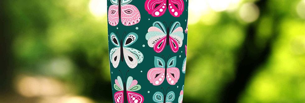 Green Pink Butterflies 20oz Tumbler