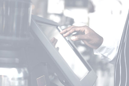 Concessions, man using cash register touchscreen