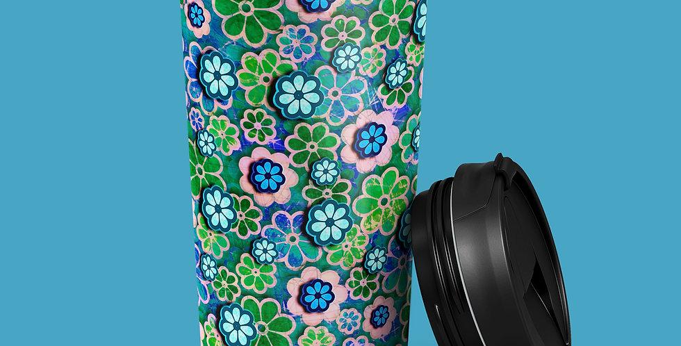 Green 60s Flower 15oz Stainless Steel Tumbler