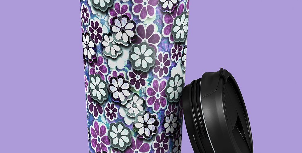 Purple Flower Power 15oz Stainless Steel Tumbler