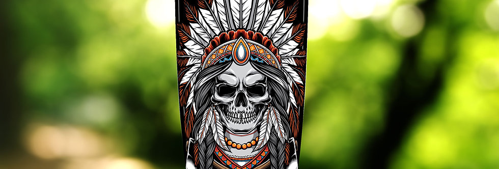 Indian Skull Warrior 20oz Tumbler
