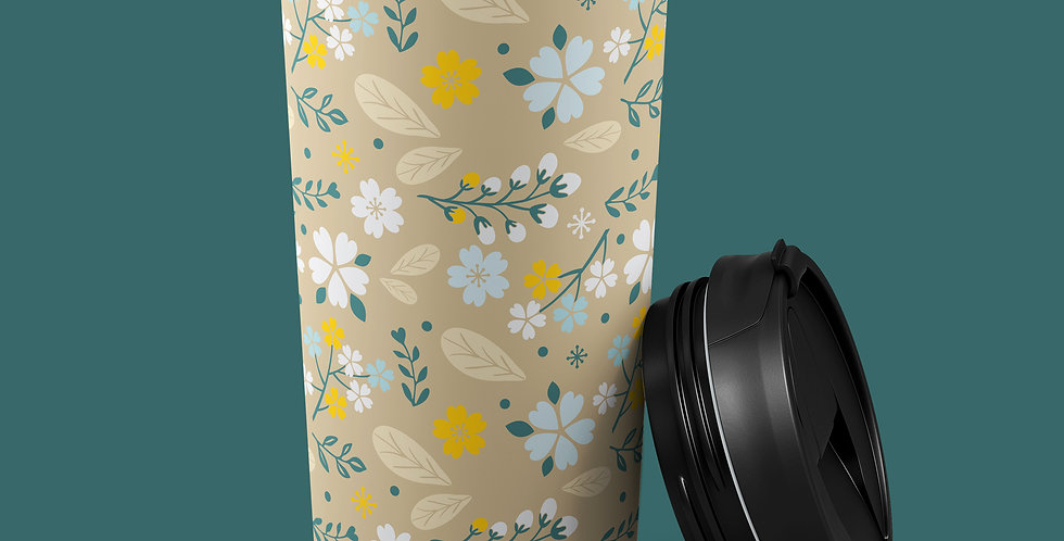 Yellow Floral 15oz Stainless Steel Tumbler