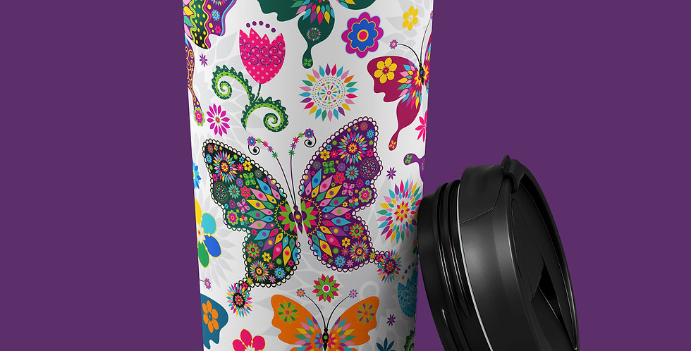 Hippie Butterfly 15oz Stainless Steel Tumbler