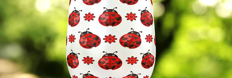 Floral Ladybug 12oz Stainless Steel Tumbler