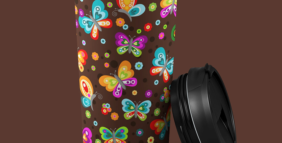 60s Butterfly 15oz Stainless Steel Tumbler
