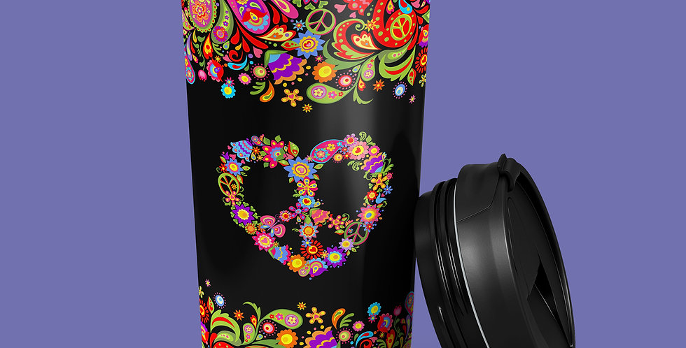 60s Peace Flower 15oz Stainless Steel Tumbler