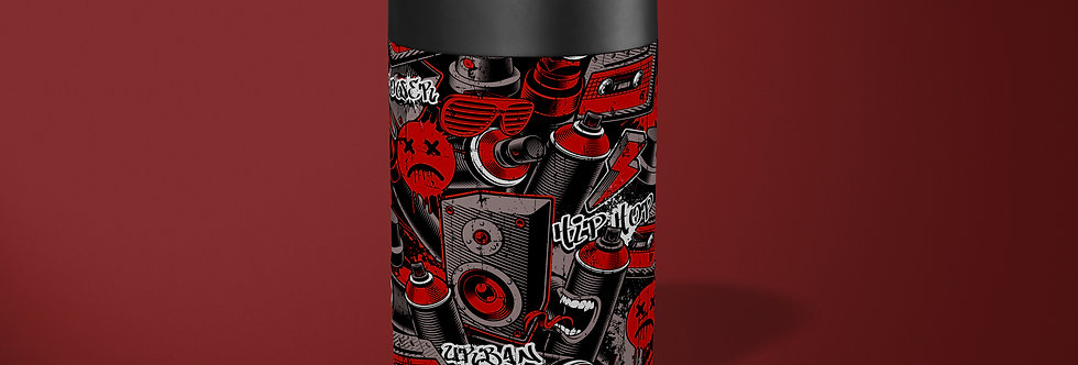 Red Graffiti Beer Can Holder