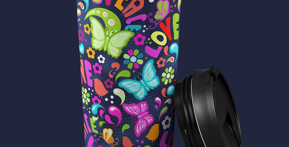 60s Hippie Butterfly 15oz Stainless Steel Tumbler