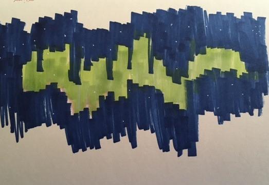 Northern Lights, marker sketch 2016