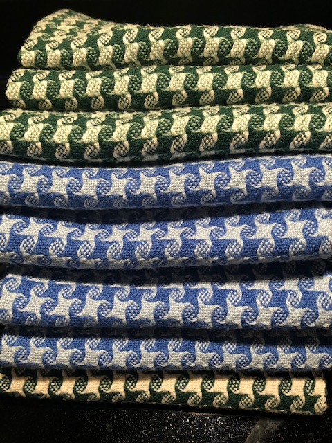 Cotton Towels - blue/blue and green/white - 2019